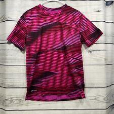 New listing Nike DRI-FIT  Womens Medium Athletic Tee Shirt Top Pink Red  Zebra Stripes