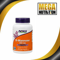 NOW Foods D-Mannose 500mg 120 Veggie Caps UTI Bladder Urinary Tract Infection