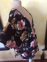 Chloe Katie Velvet Jacket Duster Festival Floral Robe Kimono Rose Pink Brown M