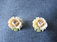 2 Vintage clear rhinestone colored celluloid flower pin appliques jewelry making