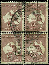 Australia Scott #99 Block of 4 Used Small Crown and Multiple A Watermark