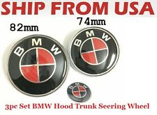 3pc BMW Red Black LOGO 82MM HOOD Trunk ORNAMENT EMBLEM BADGE Carbon Roundel