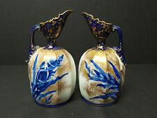 """UNUSUAL PAIR ANTIQUE ROYAL DOULTON FLOW BLUE GILT DECORATED 7"""" EWERS, c. 1910"""