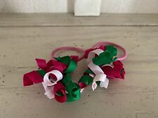 gymboree Girls Ponytail Holders Curly Ribbon Pink Green White