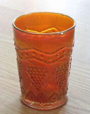 FENTON carnival glass TUMBLER LATTICE & GRAPE orange MARIGOLD antique