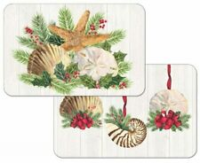 Christmas by the Sea Seashells Decosoft Reversible Plastic Placemats Set of 4
