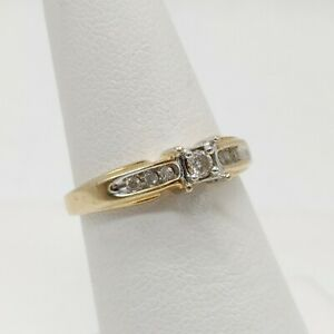10K Multi-Toned Gold - Heart Setting Ring - Synthetic Stones - Size 5.5