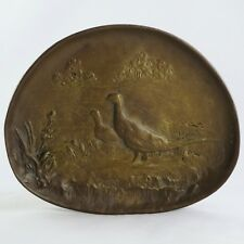 """Ancien VIDE-POCHE Bronze BERNDORF Austria """"FAISANS"""" Art Nouveau/tray/pheasants"""