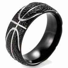 Men's Black Domed Titanium Ring with Hammered Basketball Pattern 8mm