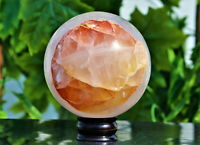 "Large 6"" Clear Hematoid Quartz Crystal Healing Energy Specularite Stone Sphere"