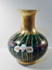 "Vintage TOYO Japanese Japan Large 10"" Art Nouveau Floral Design VASE"