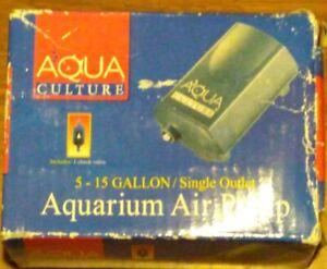 Aqua Culture Aquarium Air Pump 5-15 gallon single outlet, NOS NIB