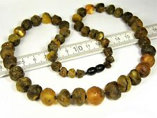 Raw unpolished natural Baltic Amber necklace baroque stones 34 gram jewelry 823a