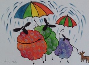 """Fridge Magnet Quirky Sheep in the Rain  large  4.25"""" by 5.5"""" By Casimira Mostyn"""