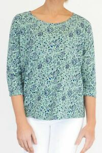 Womens Fat Face Top Green Blue Pretty Floral Jersey T Shirt Ladies Casual Blouse