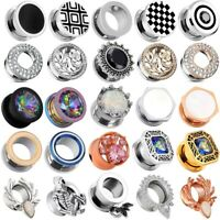 316L Stainless Steel Ear Gauges Punk Flesh Tunnels Plugs Body Piercing 2g-5/8""