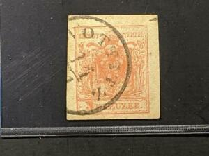 1854 Austria Sc 3e 3Kr red machine made paper