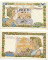 FRANCE 500 FRANCS 1942 P 95 UNC W/ Y TONE