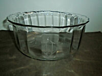 VINTAGE MONOGRAMMED THICK GLASS THUMBPRINT SERVING BOWL 10 1/8""