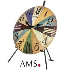 AMS 44 quartz Horloge de table cadran métallique pendulette bureau MONTRE WATCH