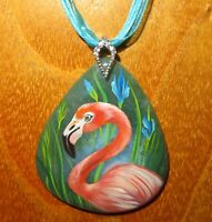 Pendant PINK FLAMINGO BIRD Russian Genuine hand painted stone Gorbachova signed