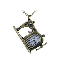 Retro Antique Bronze Sewing Machine Design Pendant Pocket Watch Necklace Gifts