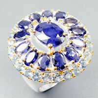 Handmade Natural Blue Sapphire 925 Sterling Silver Ring Size 8/R123399