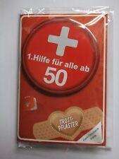 """1. HILFE-GELDGESCHENK-KARTE """"TROSTPFLASTER"""" zum 50. Geburtstag, mit Button! NEU!"""
