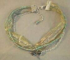 ankle bracelet beach boho 10.25-11.25inch Green Sari ribbon Dragonfly anklet