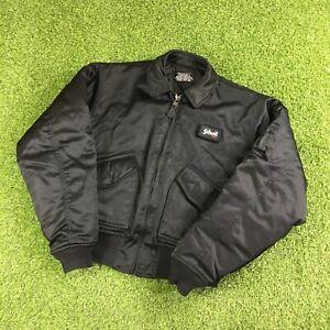 Vintage Premium Schott NYC Black Nylon Down Flight Bomber Military Jacket - UK S
