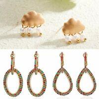Hot Gold Rhinestone Wedding Engagement Dangle Drop Earrings Women Lady Jewelry