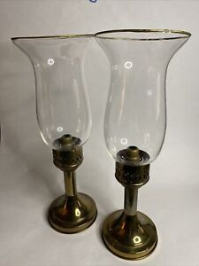 2 Antique Brass Candlesticks Spring Loaded Candle Insert Glass Hurricane Shade