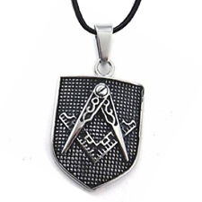 Masonic Pendant - Silver Tone  Steel Mason Shield Necklace. Gifts For Freemasons