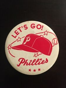 """1950 Baseball Large 3.5"""" Pin Coin Pinback Buttton -Lets Go Phillies World Series"""