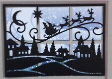 Die Cut Santa Winter Scene Frame Silhouette Card Topper Card Making Card Black
