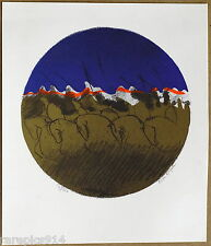 Nissan Engel Vintage Original Signed and Numbered Hand Printed Stone Lithograph