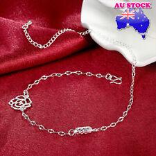 Wholesale Elegant 18K White Gold Filled Hollow Flower Ankle Chain Anklet Gift