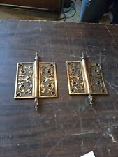 H116 Matched Pair Antique 5x5 Bronze Decorative Hinge