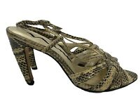 NINA GENUINE SNAKESKIN BROWN STRAPPY SANDALS, 8, $114