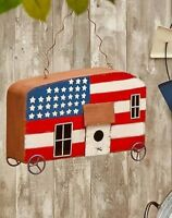 Patriotic Retro Trailer Camper Birdhouse Oversized Red White Blue Bird Wheels