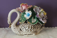 BEAUTIFUL CAPODIMONTE SWAN CENTERPIECE WITH FLOWERS MADE IN ITALY