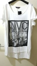 NEW~ YOURS CLOTHING Plus Size 22/24 Studded NYC Tee T-Shirt Top WHITE Ladies