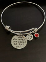 "Inspirational Charm Bangle Bracelets ""She Believed She Could So She Did"""