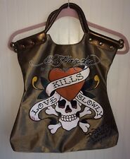 Ed Hardy Christian Audigier Gold Handbag Tote Carry Bag Purse Love Kills Slowly