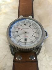DIESEL DZ1715 Rollcage Exposed Silver Dial Brown Leather Men's Watch