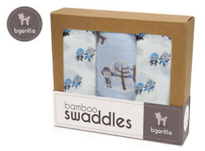 Baby 3 Pack Boy Swaddle Wraps 70% BAMBOO 30% COTTON 120 x 120cm ea