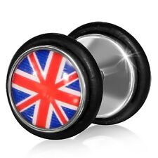 Stainless Steel Flag Of The United Kingdom Faux Fake Ear Plug with O Rings Pair