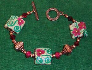 *SUMMER ROSE* Artisan Lampwork Crystal Copper Bracelet
