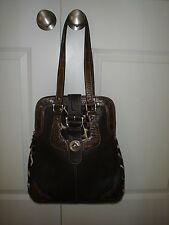 BARBARA MILANO Italian Made Brown Embossed Genuine Leather Handbag (EUC)