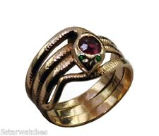 Vintage 1890's Yellow Gold SNAKE Antique Ladies Ring Ruby Head & Demantoid Eyes